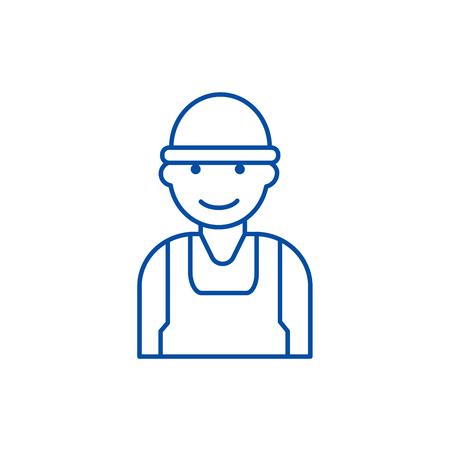 Labor,worker,builder line concept icon. Labor,worker,builder flat  vector website sign, outline symbol, illustration. Illustration