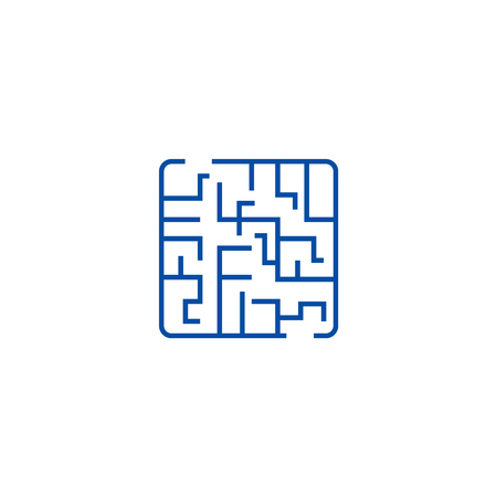 Labyrinth line concept icon. Labyrinth flat  vector website sign, outline symbol, illustration.