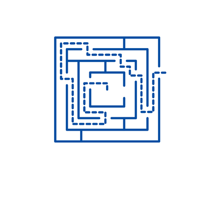 Labyrinth solution line concept icon. Labyrinth solution flat  vector website sign, outline symbol, illustration. Illustration