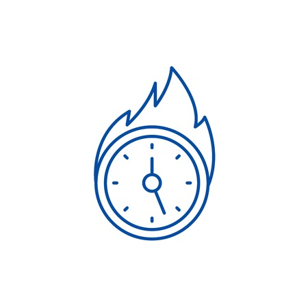 Lack of time line concept icon. Lack of time flat  vector website sign, outline symbol, illustration. Stock Vector - 120069802