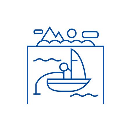 Lake, fishing on boat line concept icon. Lake, fishing on boat flat  vector website sign, outline symbol, illustration.