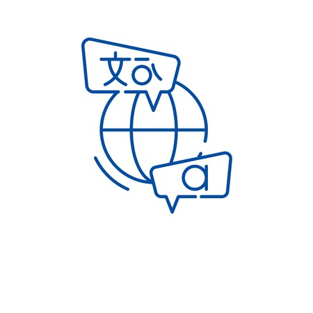 Language study line concept icon. Language study flat vector website sign, outline symbol, illustration. Vetores