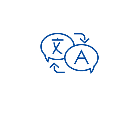 Language translation line concept icon. Language translation flat  vector website sign, outline symbol, illustration.
