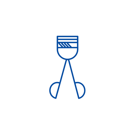 Lashes line concept icon. Lashes flat  vector website sign, outline symbol, illustration. Ilustrace