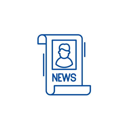 Latest news line concept icon. Latest news flat  vector website sign, outline symbol, illustration. Stock Illustratie