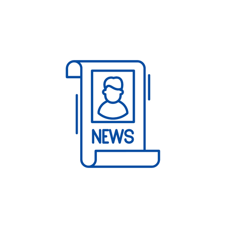 Latest news line concept icon. Latest news flat  vector website sign, outline symbol, illustration. Illustration