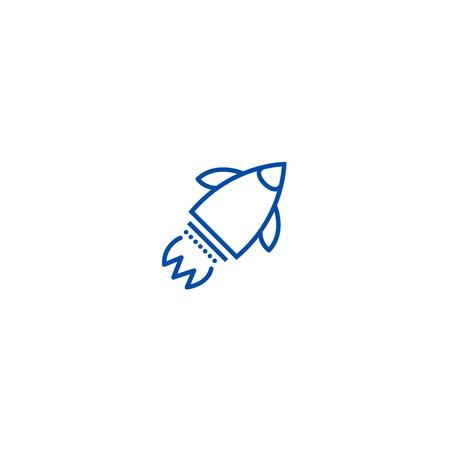 Launch rocket  line concept icon. Launch rocket  flat  vector website sign, outline symbol, illustration. Illusztráció