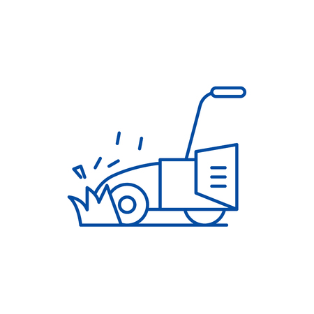 Lawn mower line concept icon. Lawn mower flat  vector website sign, outline symbol, illustration.