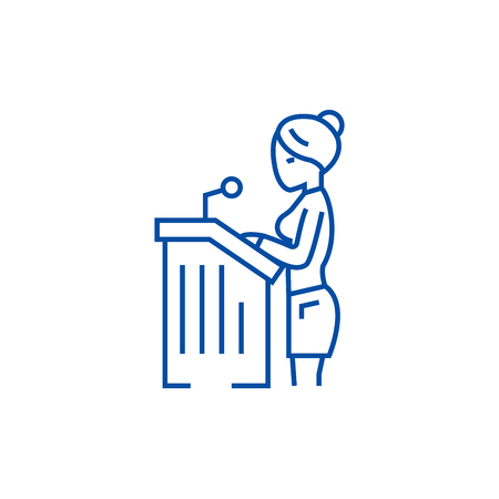 Lawyer woman,speech in court line concept icon. Lawyer woman,speech in court flat  vector website sign, outline symbol, illustration. Иллюстрация