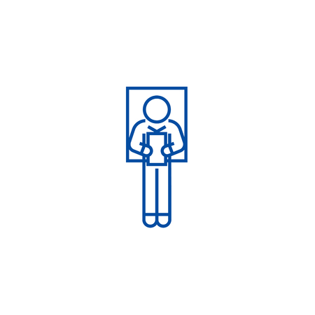 Laying man reading book line concept icon. Laying man reading book flat  vector website sign, outline symbol, illustration. Vettoriali