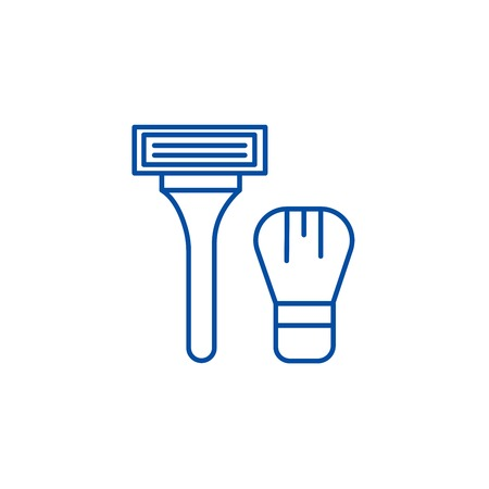 Lazor machine for shaving line concept icon. Lazor machine for shaving flat  vector website sign, outline symbol, illustration. Foto de archivo - 120054476