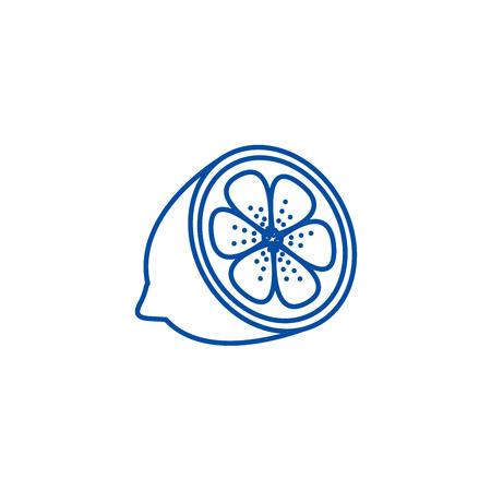 Lemon line concept icon. Lemon flat  vector website sign, outline symbol, illustration.