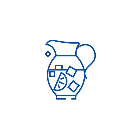 Lemonade pitcher,sangria,bewerage line concept icon. Lemonade pitcher,sangria,bewerage flat  vector website sign, outline symbol, illustration.