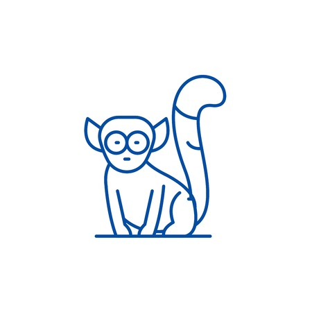 Lemur line concept icon. Lemur flat  vector website sign, outline symbol, illustration. 版權商用圖片 - 120054486