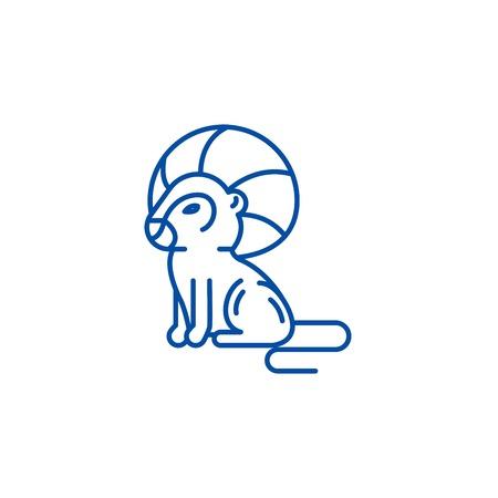 Leo zodiac sign line concept icon. Leo zodiac sign flat  vector website sign, outline symbol, illustration.