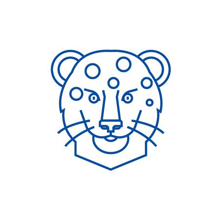 Leopard head line concept icon. Leopard head flat  vector website sign, outline symbol, illustration. Standard-Bild - 120054494