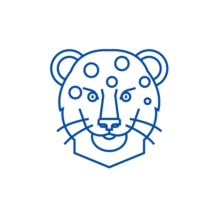 Leopard head line concept icon. Leopard head flat  vector website sign, outline symbol, illustration.