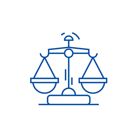 Law and justice line concept icon. Law and justice flat  vector website sign, outline symbol, illustration. 向量圖像