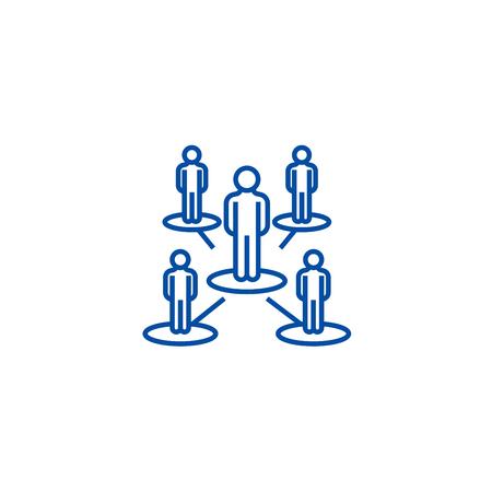 Réseau de leadership, icône de concept de ligne à plusieurs niveaux. Réseau de leadership, signe de site Web vectoriel plat à plusieurs niveaux, symbole du contour, illustration. Vecteurs