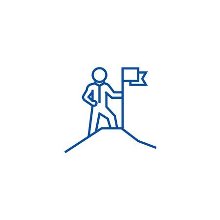 Leadership,man with flag on mount line concept icon. Leadership,man with flag on mount flat  vector website sign, outline symbol, illustration.