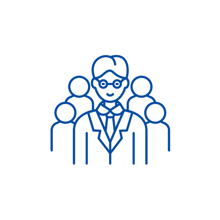 Leading top manager line concept icon. Leading top manager flat  vector website sign, outline symbol, illustration.