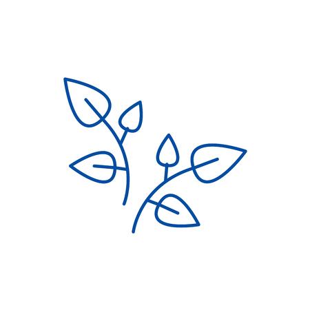 Leaf, branches line concept icon. Leaf, branches flat  vector website sign, outline symbol, illustration. Иллюстрация