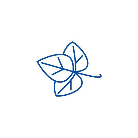 Leaf, spice line concept icon. Leaf, spice flat  vector website sign, outline symbol, illustration.