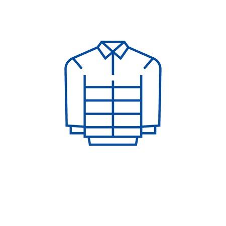 Leather jacket line concept icon. Leather jacket flat  vector website sign, outline symbol, illustration. Stock Illustratie