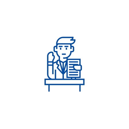 Lecturer,speech,professional speaker line concept icon. Lecturer,speech,professional speaker flat  vector website sign, outline symbol, illustration.