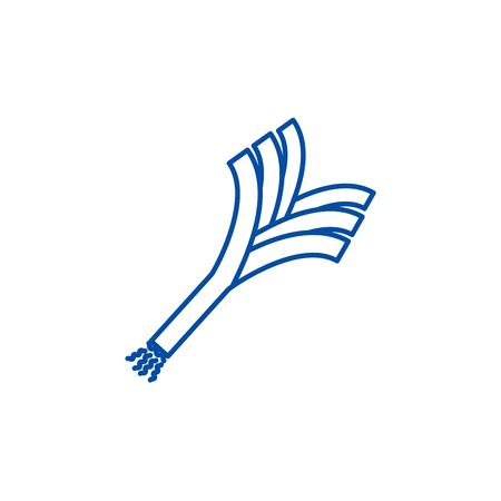 Leek line concept icon. Leek flat  vector website sign, outline symbol, illustration.