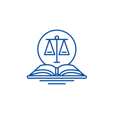 Legal code line concept icon. Legal code flat  vector website sign, outline symbol, illustration. 向量圖像