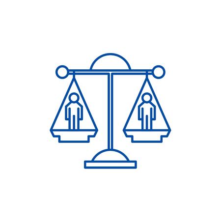 Icône de concept de ligne de décision juridique. Décision juridique télévision vector website sign, symbole du contour, illustration.