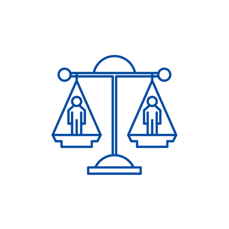Legal decision line concept icon. Legal decision flat  vector website sign, outline symbol, illustration.