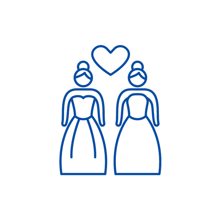 Lesbian marriage line concept icon. Lesbian marriage flat  vector website sign, outline symbol, illustration.