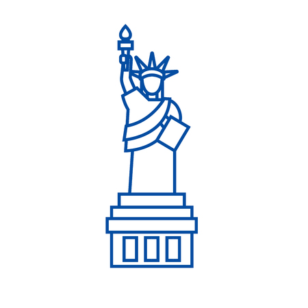 Liberty statue  line concept icon. Liberty statue  flat  vector website sign, outline symbol, illustration.