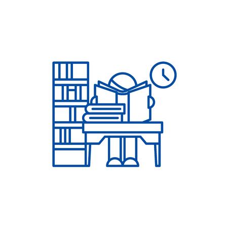 Library line concept icon. Library flat  vector website sign, outline symbol, illustration. Ilustração