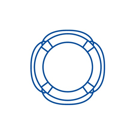Lifebuoy line concept icon. Lifebuoy flat  vector website sign, outline symbol, illustration.