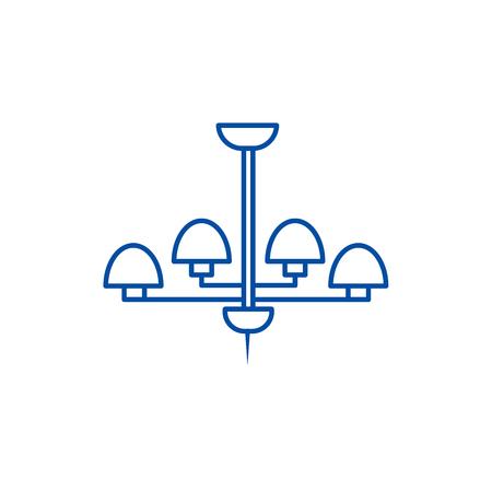 Light lamp, ceiling bra line concept icon. Light lamp, ceiling bra flat  vector website sign, outline symbol, illustration. Ilustração