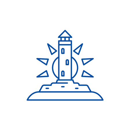 Lighthouse line concept icon. Lighthouse flat  vector website sign, outline symbol, illustration.