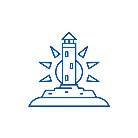 Lighthouse line concept icon. Lighthouse flat  vector website sign, outline symbol, illustration.