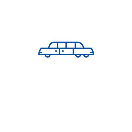 Limousine line concept icon. Limousine flat  vector website sign, outline symbol, illustration.