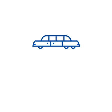 Limousine line concept icon. Limousine flat  vector website sign, outline symbol, illustration.