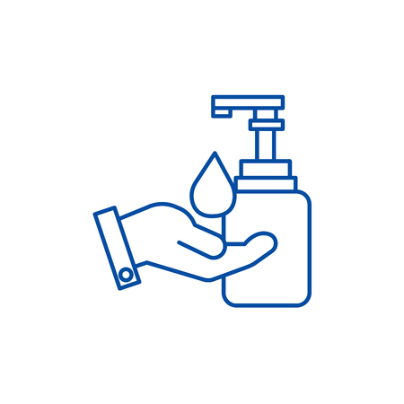 Sapone liquido con icona del concetto di linea a mano. Sapone liquido con mano piatto vettore sito web segno, simbolo di contorno, illustrazione.