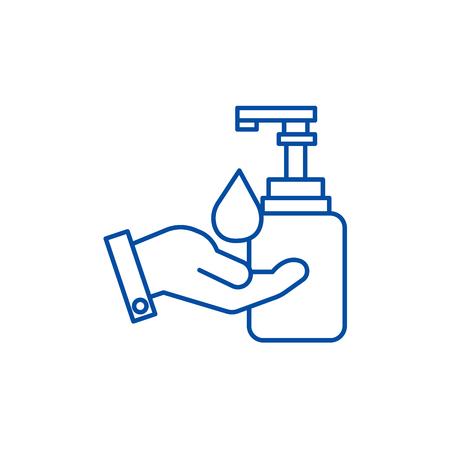 Vloeibare zeep met handlijnpictogram concept. Vloeibare zeep met hand plat vector website teken, overzichtssymbool, afbeelding.