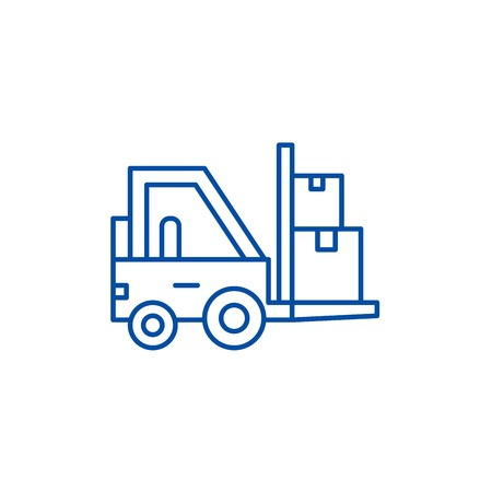 Loader in stock line concept icon. Loader in stock flat  vector website sign, outline symbol, illustration. Иллюстрация