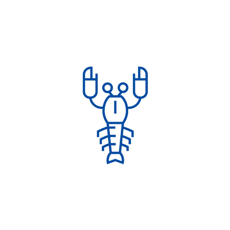 Lobster line concept icon. Lobster flat  vector website sign, outline symbol, illustration.