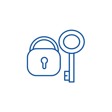 Lock with key line concept icon. Lock with key flat  vector website sign, outline symbol, illustration.