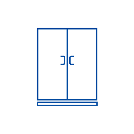Locker,cupboard line concept icon. Locker,cupboard flat  vector website sign, outline symbol, illustration.