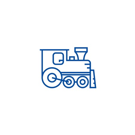 Locomotive line concept icon. Locomotive flat  vector website sign, outline symbol, illustration.