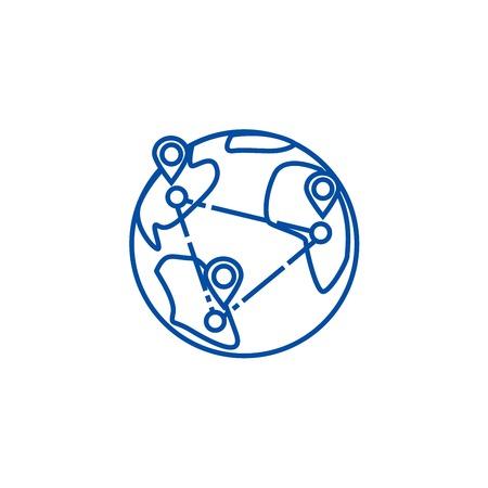 Logística, icono de concepto de línea de entrega en todo el mundo. Logística, entrega en todo el mundo vector plano sitio web de señal, símbolo de esquema, ilustración. Ilustración de vector